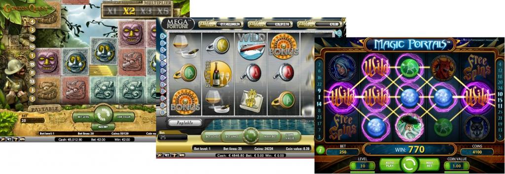 Tre olika online spelautomater